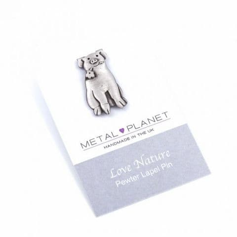 Sitting Pig with Flower - Pewter Jacket, Lapel or Coat Pin